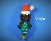 black Lhasa Apso Santa Dog OOAK Christmas Holidays Light Bulb Ornament Sally's Bits of Clay PERSONALIZED FREE with dog's name