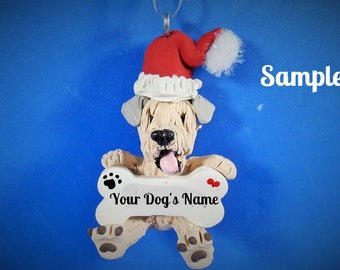 Wheaten Terrier Santa Dog Christmas Bone Ornament Sally's Bits of Clay PERSONALIZED FREE with dog's name