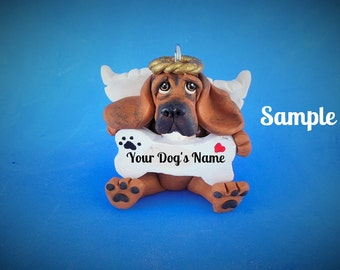 Red with black Bloodhound  Dog Christmas Bone Ornament Sallys Bits of Clay PERSONALIZED FREE with dog's name