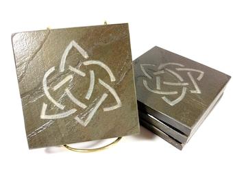 Celtic Love Knot Slate Coasters - 4 Carved Stone Coasters - Natural Drink Coasters - More Celtic Knot Sets - Celtic Knot Art, Irish Decor