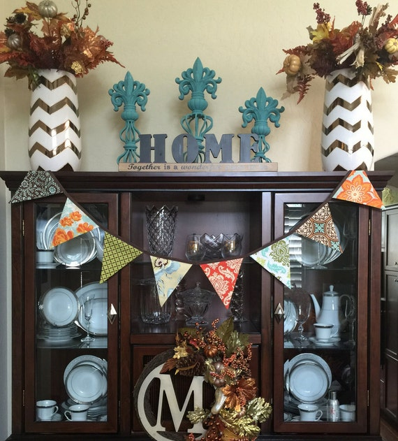 Harvest, Fall Colors Bunting, Flag Banner.  Thanksgiving Flags, Garland Photo Prop, Holiday Decoration. Brown, Green, Orange, Gold, Aqua.