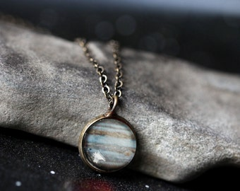 Jupiter Planet Pendant - Galaxy Space Necklace - Antique Silver or Bronze - Petite Solar System - Cosmic Jewellery Sagittarius Ruling Planet