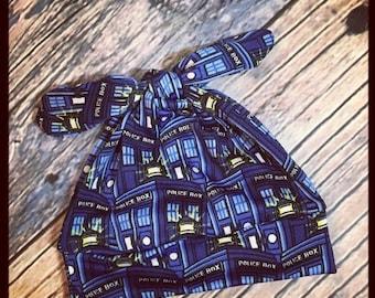 SUMMER SALE RockerByeBeanies Dr Who Tardis blue Newborn Baby knit skull cap hat beanie girl boy or unisex