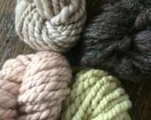 Four skeins all natural dyes or natural color Handspun mini skeins texture pack art yarn 40 yards handspun lot set