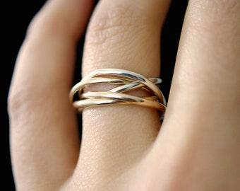 thin interlocking rings set of 5 rose gold gold silver interlocking rings - Interlocking Wedding Rings