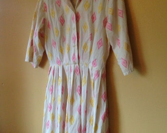 Vtg 1960s Cotton Ikat embroidered dress . Pink and Yellows