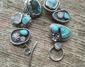 Chrysocolla, turquoise, sterling silver, handmade treasure bracelet in Robin's egg blue.
