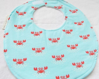 Neutral Baby or Toddler Bib - Little Crabs - Cotton bib with terry cloth backing and snagfree velcro closure