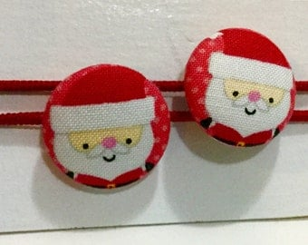 Ponytail holders - Santa - Great stocking stuffer - Winter Holiday Christmas ponytail holder -  fabric covered button hair ties