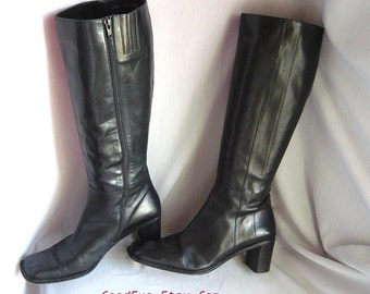 Vintage LEATHER LINED Stovepipe Boots 8 .5 M Eu 39 Uk 6  Black Chunky Heel  ITALY Via Spiga