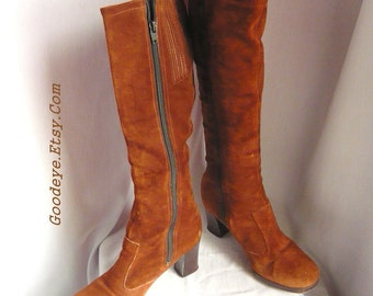 Boho 70s Suede Leather Boots sz 6 .5  M Euro 37 UK 4 WILD PAIR Hippie Vintage Knee Length Slouch