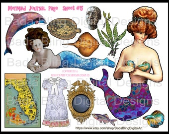 Mermaid journal page, sheet #5.. INSTANT  Digital Download at Checkout, mermaids,U Print and Cut, mermaid paperdolls, journal pages, mermaid