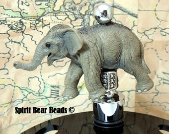 Asian Elephant Wine Stoppers Bar Silver accent Republican Party Gift