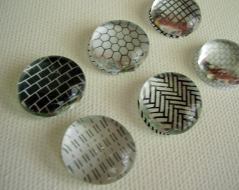 Monochrome black and white security pattern glass pebble bubble magnets set of 6 superstrong magnets