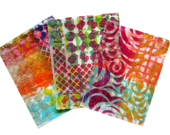 Original Handmade Gelli Print Collage Artist Papers for Mixed Media and Art Journaling #167