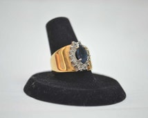 Blue Sapphire Ring, 18 KT HGE Gold Ring, Size 7.5 Ring, Gemstone Ring, Sapphire Ring, Vintage Ring, Sapphire, Crystal Ring, Cocktail Ring