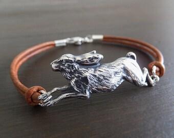 Rabbit Hare Jewelry Bracelet - Silver Brass Bunny Charm - Jackrabbit Jewelry - Cognac Leather Cord - Gift for Her - Woodland Rabbit - Women
