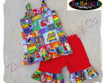Girl Back To School Outfit Pant Set Custom Boutique KINDERGARTEN PRESCHOOL Clothing Grade 3 6 9 12 18 24 month size 2T 2 4 5 6 7 8 T