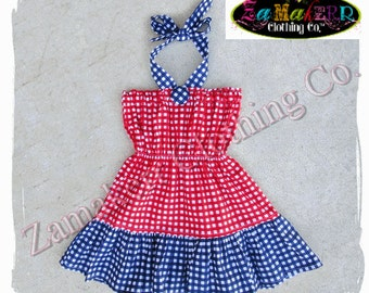 2T 24 month 3T 3 ONLY Clearance Boutique Clothing Girl Halter Dress Cute Gingham 4th of July Red White Blue Birthday Size 24 month 2 2T 3 3T