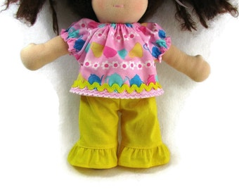 10 inch waldorf doll teapot top and yellow ruffle pants, handmade doll clothes