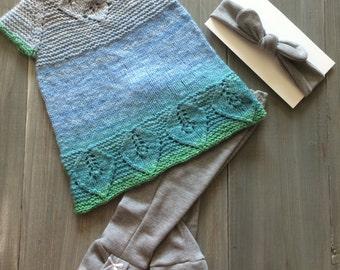 Gradient handspun dress with accessories 3-6 mo