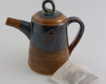 Ceramic Teapot - Stoneware Tea Brewing Vessel - Handmade Pottery - Brew and Serve - Ready to Ship - Iron Brown and Seaweed Blue-Green  s452