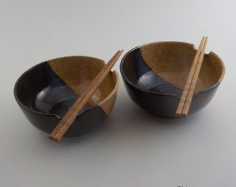 Noodle Bowls - Set of 2 - Wheel Thrown Ceramic - Stoneware Chopstick Dishes - Soup Bowls - Great Gift - Ready to Ship - Straw / Temmoku b351