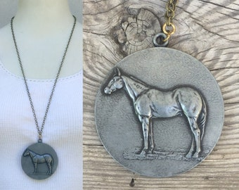 True  Vintage Hores Medal necklace - Statement - huge pendant -equestrian brass chunky mixed metals boho s54