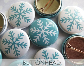 Snowflake Christmas Decorations Decor Party Favors Stocking Stuffers - Set of 10 1 Inch Buttons