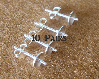 925 Sterling Silver PAD Earring Post (6mm) With PEG and Earring Backs - 10 Pairs (20 Pieces)