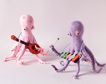 Print: Octopus Band - toy felt plush art music photo wall decor ocean sea creature nuigurumi xylophone ukulele sculpture