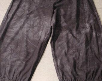 Black Capri Pants cotton recycled pajama bottom Altered Fashion wrinkle dyed embellished   The Dolly   XL hobo Gothic Lolita strega Boho eco