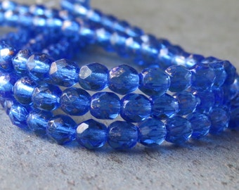 Sapphire Gold Czech Glass Bead 4mm Faceted Round : 50 pc Blue Round Bead