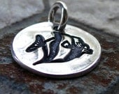 ON SALE Silver Striped Fish Charm, PMC Fine Silver, Beach Jewelry