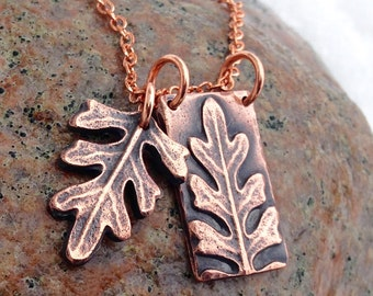 Copper Leaf Necklace, Copper Leaf Pendants, Copper Chain, Botanical Jewelry, Gardener Gift, Rustic Jewelry, Gift for Her, Double Pendants