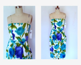 Vintage Sun Dress Floral Dress  Spaghetti Straps / Blue/Green  Fitted  Dress Sz S