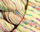 RESERVED ORDER for Rita Ryan - Not So Vanilla stripe sock yarn and Cheeseburger stripe sock yarn