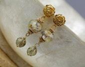 Wire Wrapped Lampwork Earrings- Earrings - Lampwork Earrings - Wire Wrapped Earrings - Dangle Earrings - Post Earrings - Gold Earrings