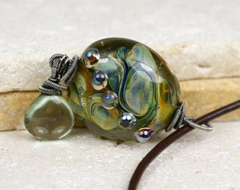 Lampwork Necklace - Gemstone Necklace - Glass Necklace - Wire Wrapped Necklace - Green Amethyst Necklace - Womens necklace - Unique gifts