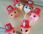 Vintage / Valentine's Day Heads / Cupcake Picks / Six Items / Kitschy