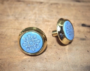 Free Shipping Two drawer pulls knobs pull knob Blue Ceramic Center Metal Surround Brass