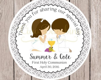 PRINTABLE First Holy Communion Favor Tags / Print Your Own Communion Stickers for Twins, Siblings, Cousins / Choose Hair & Skin Color - HC10