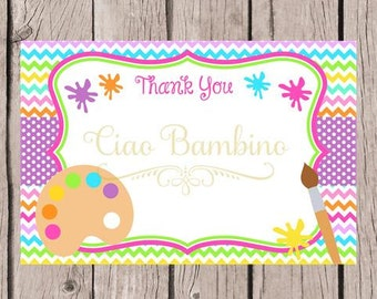PRINTABLE Art Party Thank You Card / Printable Painting Party Thank You / 4x6  Cards That You Print / INSTANT DOWNLOAD