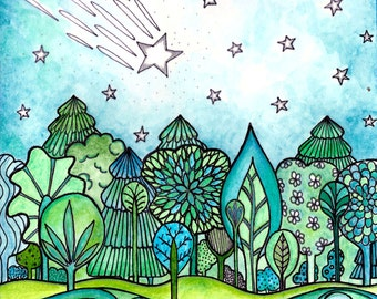 Make a Wish shooting star trees print from my Coloring book Joyful Inspirations published by Faithwords Publishing