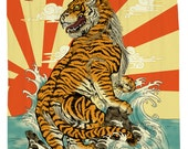 Rising Tiger, Japanese Shower Curtain, Printed in USA