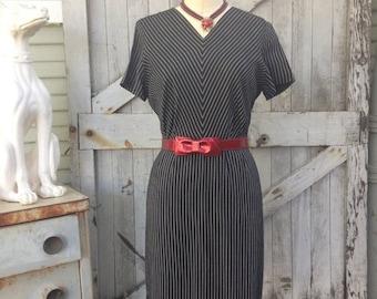 Fall sale 1950s Martha Manning day dress 50s black pin striped dress size large Vintage chevron cotton dress