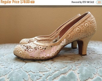 Fall sale 1940s heels vintage shoes spider web lace ivory heels weeding shoes 40s shoes lace heels size 6