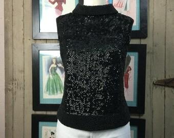 1950s sequin top 50s beaded blouse size medium Vintage black knit top