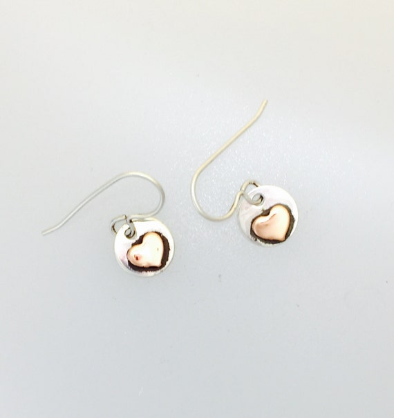 Tiny Copper Heart with sterling earrings-vegan earrings- dainty-vegan gift-birthday-anniversary-recycled-love-Valentines Day-heart earrings