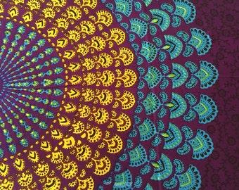 Bohemian Hippie Tapestry Fabric Colorful Starburst Pattern - Peacock Purple